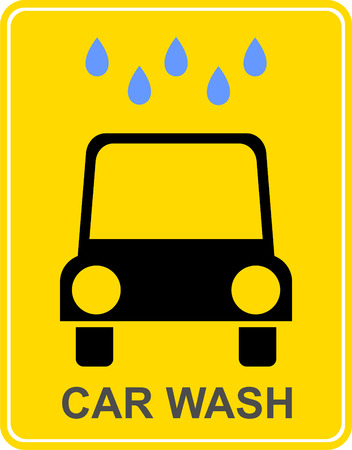 Car wash - yellow vector sign, plate. Car under water drops. Stock Vector - 5602392