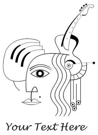 geigen: Das menschliche Gesicht, Hand, Klavier und Gitarre - eine abstrakte Komposition, musikalische Collage.