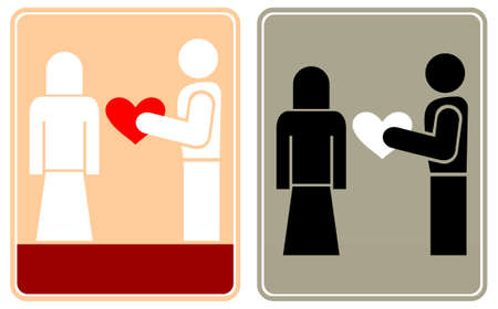 assignation: Man gives the woman his heart. Romantic dating, assignation, tryst.