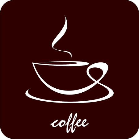The cup of coffee on dark brown background - stylized image. Illustration can be used to design menu restaurant or cafe. Vector