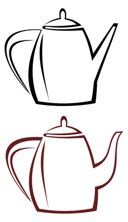 coffeepot: Black and white stylized image of a teapot or kettle. Abstract outline, sketch. Coffee pot. Two versions of the picture.