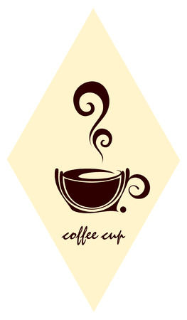 The cup of coffee on lozenge background - stylized image. Illustration can be used to design menu restaurant or cafe. Stock Vector - 5639980