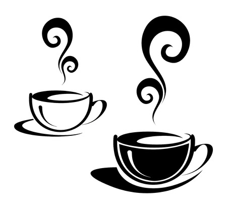 The two cups of coffee with spiral steam. Black and white image. Illustration can be used to design menu restaurant or cafe. Vector