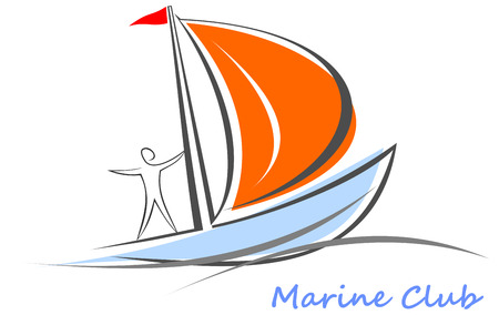 Sailing boat with sailor. White sailboat on the blue water. Yacht that sails on the waves. Stylized image of the floating boats with blue sails and red flag. Can be used as logotype of yacht club, marine club, hotel, etc.