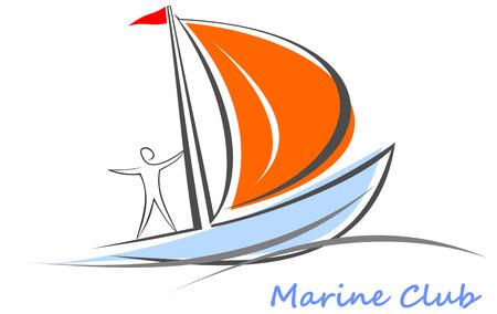 Zeilboot met matroos. Witte zeilboot op het blauwe water. Yacht dat zeilen op de golven. Gestileerde afbeelding van de drijvende boten met blauwe zeilen en rode vlag. Kan worden gebruikt als logo van de jachtclub, mariene club, hotel, enz.