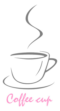 Vector stylized image of coffee cup. The cup of coffee on dark brown background - stylized image. Illustration can be used to design menu restaurant or cafe.