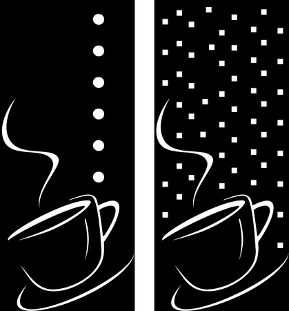 morning tea: Vector stylized image of coffee cup. The cup of coffee on dark brown background - stylized image. Illustration can be used to design menu restaurant or cafe.