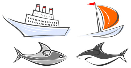 seafish: Set of maritime icons - ocean liner, sailing boat, fish and shark. Color illustrations, design elements. Isolated, white background. Illustration