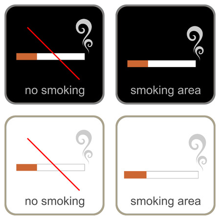 Smoking Area and No Smoking - vector signs on white and black backgrounds. Information plates. Iluustration, icon. Disabling and Enabling signs. Vector