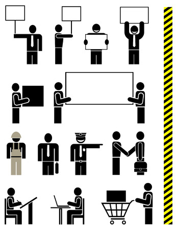 police unit: People of different professions - set of stylized vector pictograms. Units. Isolated, icons, design elements. Yellow & black police tape - seamless.