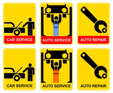 car service: Set of yellow-black signs for car service. Car mechanician repairing the machine. Information sign, vector icon for workshop. Illustration