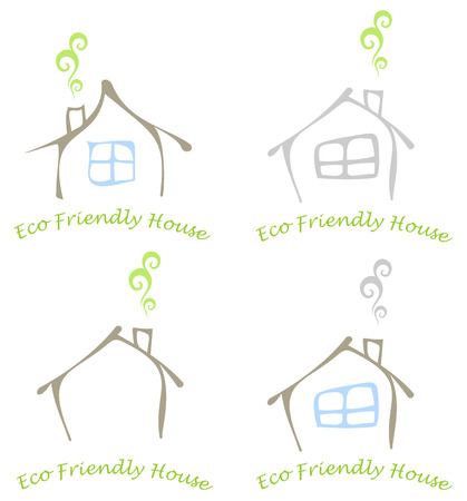 rental agency: Stylized image of the eco friendly house with a window and a chimney. Colored vector illustration, icon. Can be used as logotype for your company.