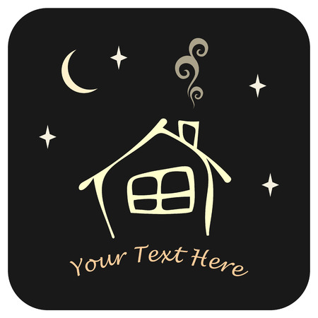 house outline: Stylized vector image of the house with a window and a chimney. Black background with moon and stars. Can be used as logotype for your company.