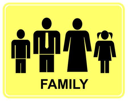 marido y mujer: Familia numerosa - amarillo y negro signo de vector estilizada. Esposo, esposa y sus hijos. Hombre, mujer, ni�o y ni�a.