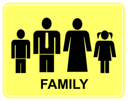 Large family - yellow and black stylized vector sign. Husband, wife and their children. Man, woman, boy and girl. Vector