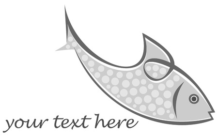 seawater: Vector image of fish on dark background. Can be used as logotype for your company. Symbol, emblem, stylized tattoo, icon.