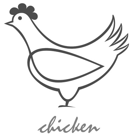 Stylized vector image of hen. Can be used as the designation of products from chicken. Isolated design element. Vector