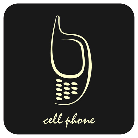 dialing: Stylized vector image of mobile phone on black background. Can be used as a company logo or as design element for section with contact information. Icon, button.