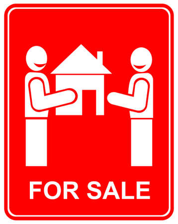landlord: Smiling man gives house to another man - vector sign with inscription FOR SALE. Stylized icon of Real estate. Two men on red background.