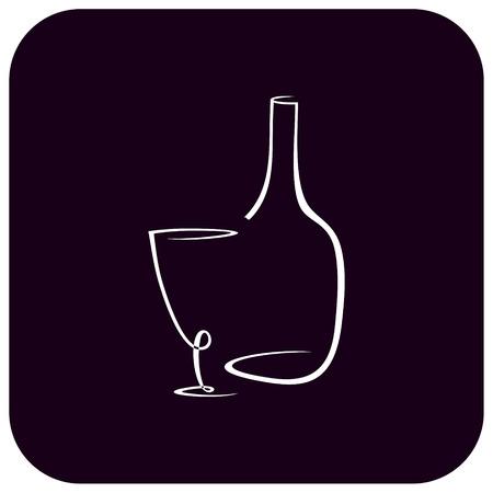 bocal: Vettore immagine stilizzata di bottiglia e bicchiere di vino su sfondo blu scuro. L'immagine pu� essere usato per progettare men� ristorante o caff�.