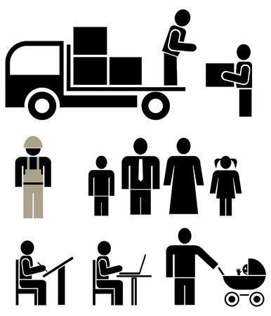 simbolo uomo donna: Persone di differenti professioni - serie di pittogrammi vettoriale stilizzato. Famiglia, unit�. Isolato, icone, elementi di design. Marito, moglie e figli.