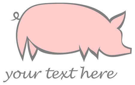Pig, swine - stylized vector image of pink hog on white background. Stock Vector - 5935564