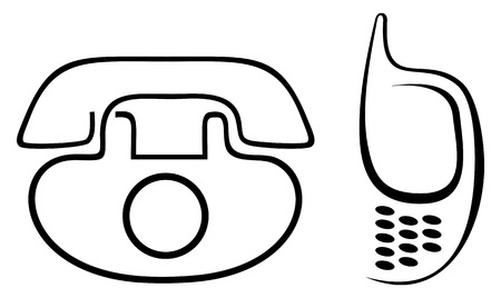 Stylized images of mobile phone and disk phone. Can be used to design the section on contact information of your company. Black outline symbols on white background. Vector
