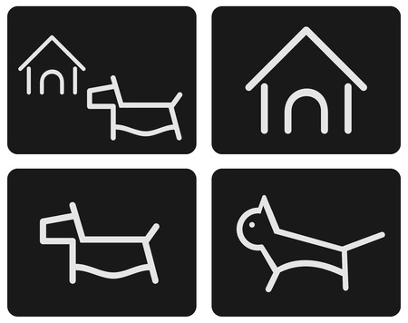 kennel: Kitten and puppy - a set of stylized icons. images can be used for the design of a site about cats, dogs and other pets.