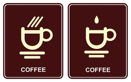 drop shadow: Vector icon - a stylized image of a cup of hot coffee. Can be used to design of cafe, restaurant, bar, as well as sites about coffee, tea or hot chocolate.