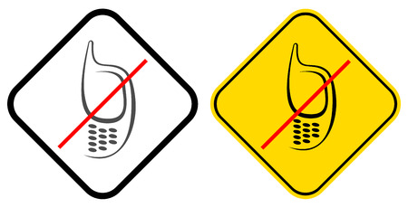 no cell phone: No cell phone - prohibited sign. Vector image of mobile phone on white and yellow background.