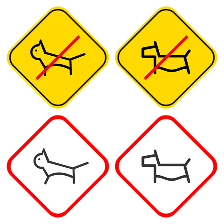 prohibiting: Pets - permitting and prohibiting signs. Stylized images of dogs and cats on a white or yellow background.  Illustration