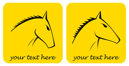 The stylized image of a horse's head on a yellow background. Can be used as the logo of your company. Stock Vector - 5984922
