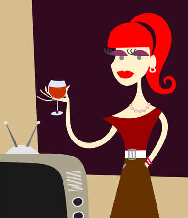 Beautiful young girl in a dress with a glass of wine. Vector