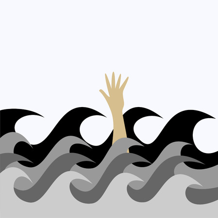 sinking: Hand of a drowning man is visible from the sea waves. Illustration