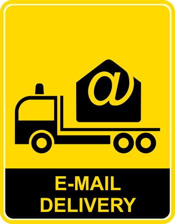 mail truck: Big truck transports the envelope. Illustration