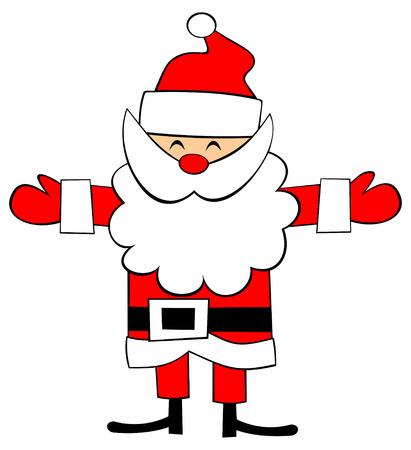 Jolly Santa Claus wants someone to hug. Vector