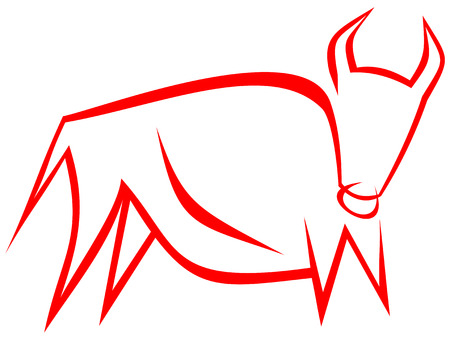 Stylized image of a powerful bull.