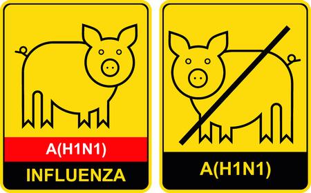 Swine flu. Pig on yellow background. Influenza A(H1N1). Caution, danger. Vector