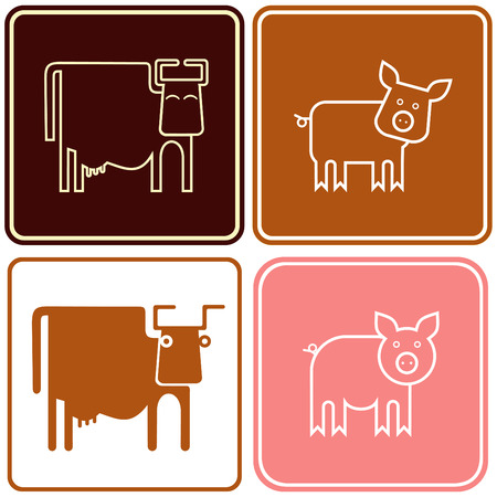 Cow, pig Vector