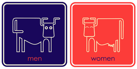 lady cow: Symbols for male and female toilets - a stylized image of a bull and cow.