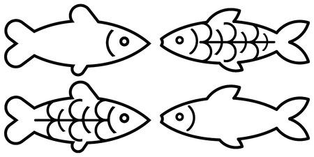 seafish: stylized image of fish on white background.