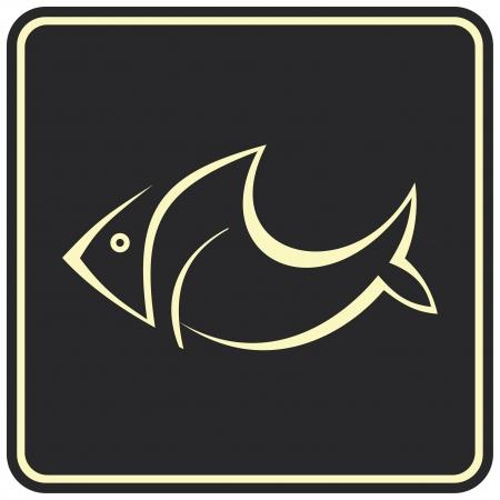 logo poisson: Image vectorielle de poissons sur fond noir. Peut �tre utilis� comme logo. Pictogramme peut servir � la d�signation des produits du poisson ou des fruits de mer.  Illustration