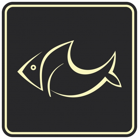 designation: Vector image of fish on black background. Can be used as logo. Pictogram can be used as the designation of products from fish or seafood.  Illustration