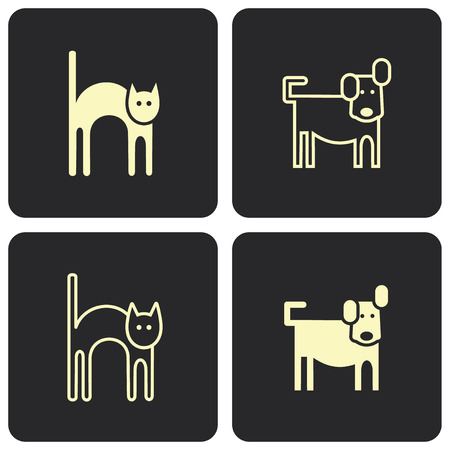 cat dog: Cat and dog (kitten and puppy) - stylized vector symbols, pictograms. Illustration