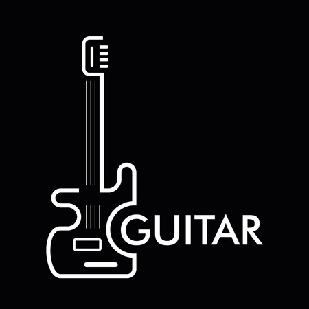 jazz music: Guitar - vector stylized icon on black background. Design element.