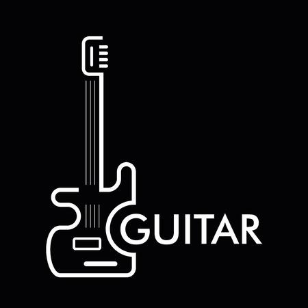 logo rock: Guitare - ic�ne stylis� vecteur sur fond noir. �l�ment de conception.