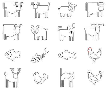Vector icons - stylized images of animals, birds and fish.