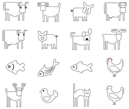 Vector icons - gestileerde beelden van dieren, vogels en vissen. Stockfoto - 6196334