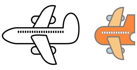 avion caricatura: Avi�n - vector iconos, elementos de dise�o. Plano de dibujos animados estilizados.