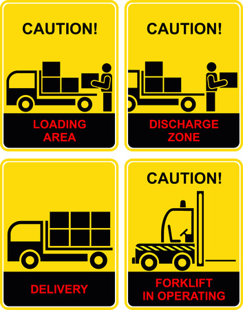 discharge: Set of logistical signs - cargo, transportation icons. Loading area, discharge zone, delivery, shipping, traffic. Yellow and black. Forklift in operating. Illustration